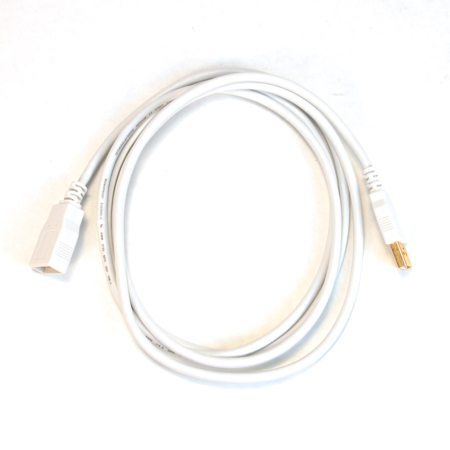 6%27 USB Cable Extension 6%27, ft, foot, feet, USB, Cable, Extension, white, gold