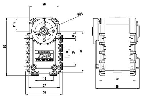 AX-12 servo dimensions