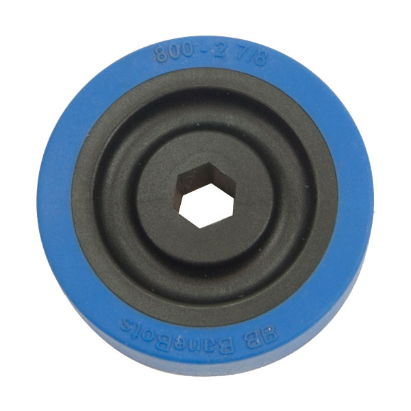 Rubber Wheel - 2-7/8 Inch x 0.8 Inch - 1/2 Inch Hex Bore