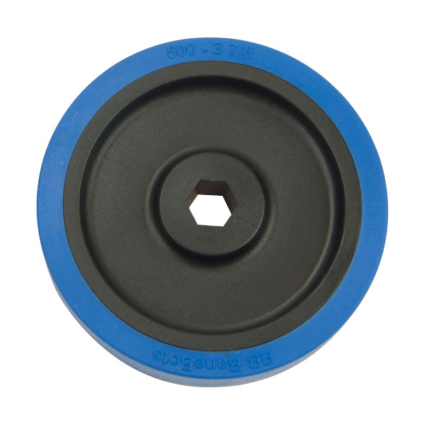 Rubber Wheel - 3-7/8 Inch x 0.8 Inch - 1/2 Inch Hex Bore