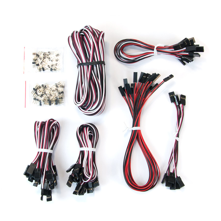 Robot Geek Sensor Cable Pack robotgeek, robotgeek sensor pack, robotgeek sensor cable pack, robotgeek cable pack, servo wire, 2 pin jumpers, sensor squid, pin couplers, jr female, y cable, variety pack