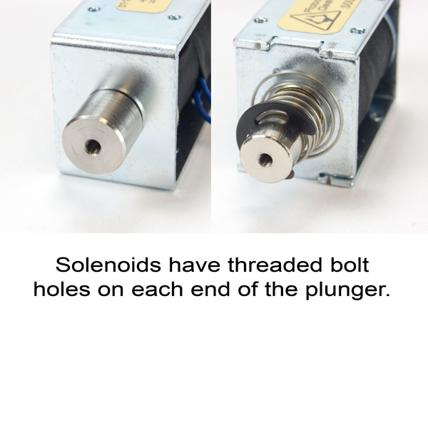 solenoid shaft with mounting holes