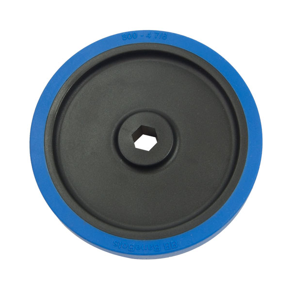 Rubber Wheel - 4-7/8 Inch x 0.8 Inch - 1/2 Inch Hex Bore