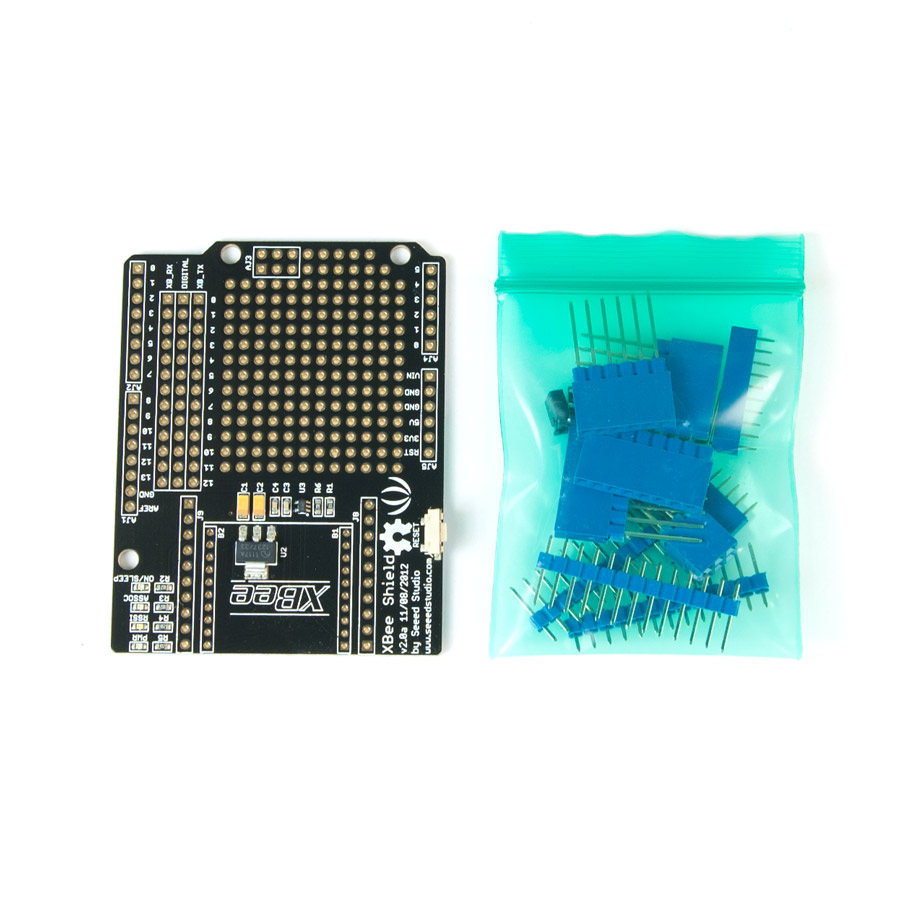 XBee Shield 2.0 Xbee, xbee shield, arduino xbee shield, xbee communication, seeeduino xbee shield,