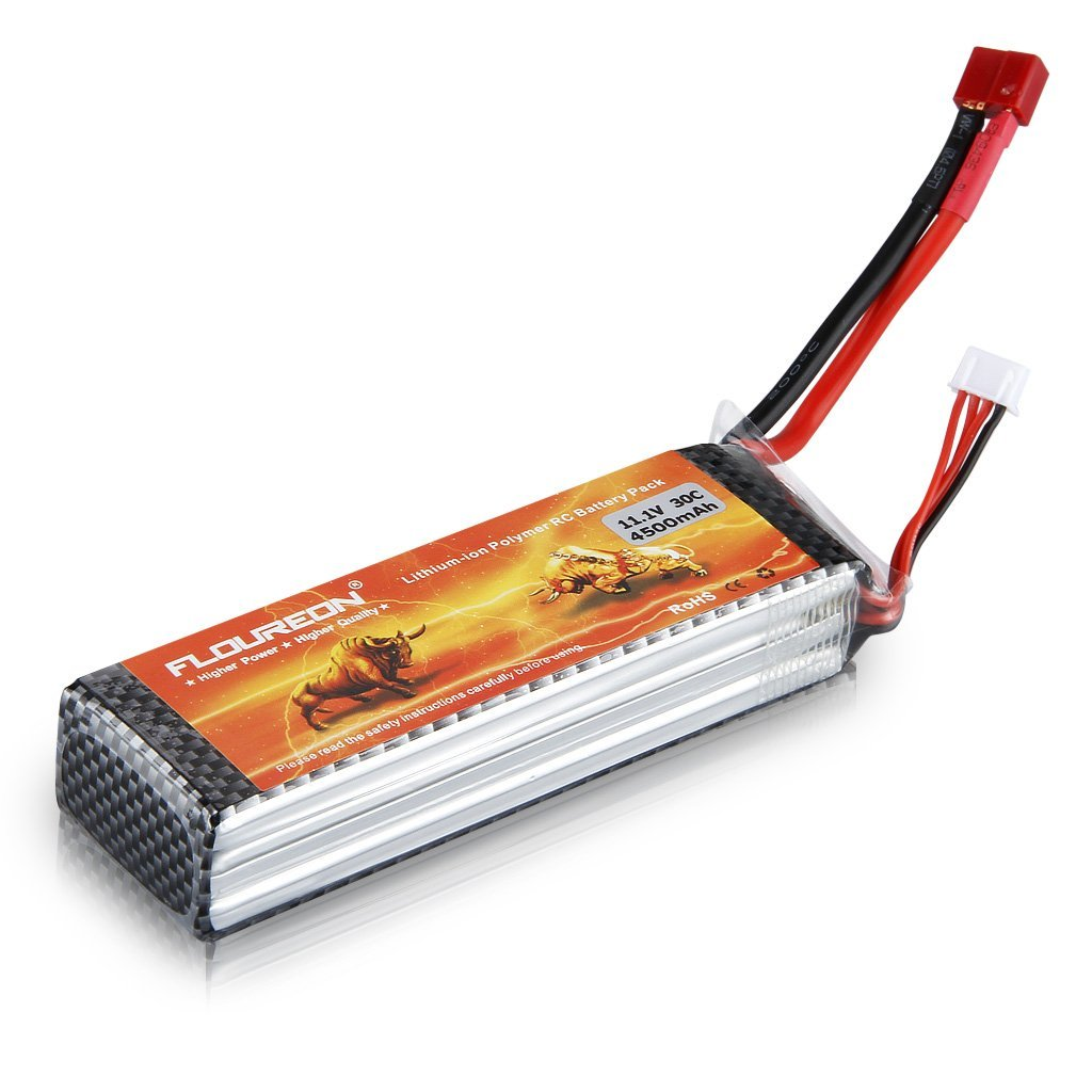 Floureon 11.1V 4500mAh 30C LiPo Battery arduino battery, LiPo, Lithium Ion Battery, LiPo Battery, 3 cell lipo battery, 11v lipo battery, 4500mAh battery, 3s 11V 4500mAh 25C lipo battery
